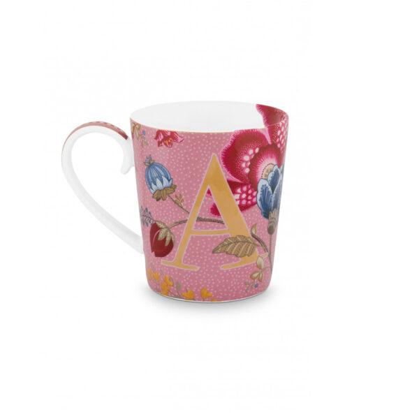 Κούπα με γράμματα -Α- Blushing Birds Ροζ 350ml