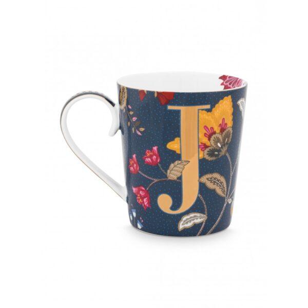 Κούπες με γράμματα -J- Floral Fantasy Μπλε 350ml