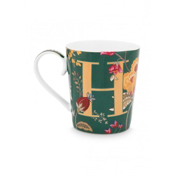 Κούπες με γράμματα -H- Floral Fantasy Πράσινο 350ml