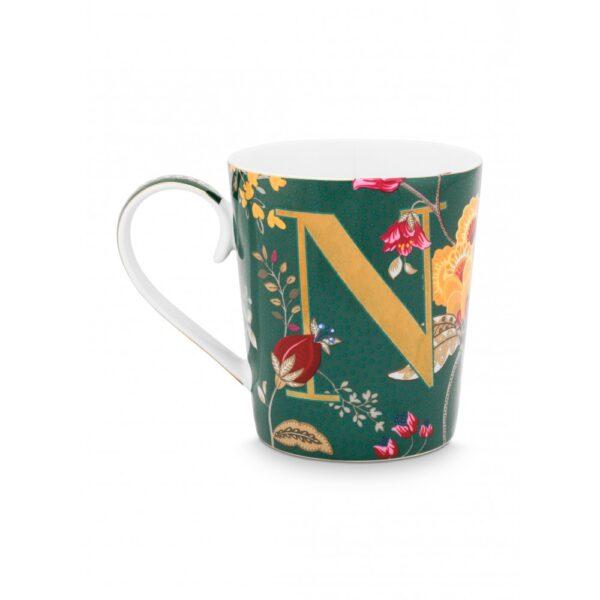 Κούπες με γράμματα -N- Floral Fantasy Πράσινο 350ml