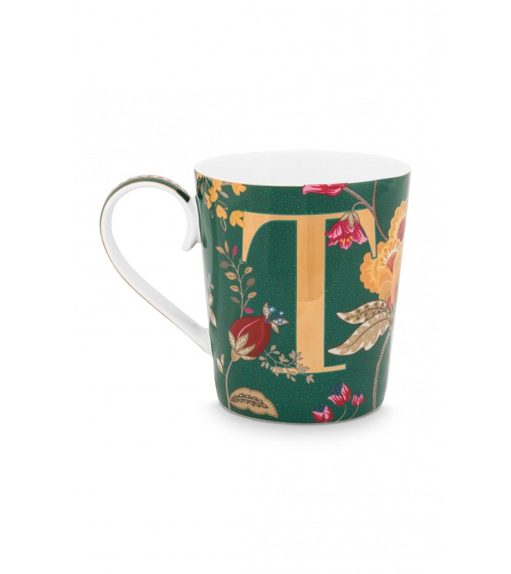 Κούπες με γράμματα -T- Floral Fantasy Πράσινο 350ml