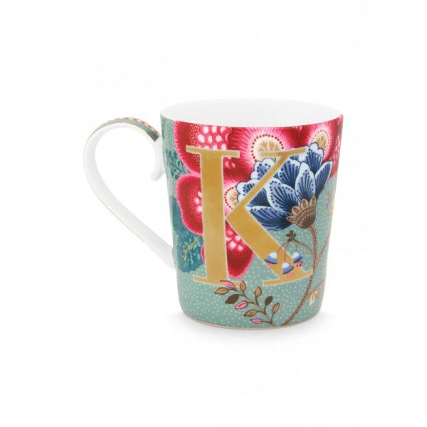 Κούπες με γράμματα -K- Floral Fantasy Ανοικτό Μπλε 350ml