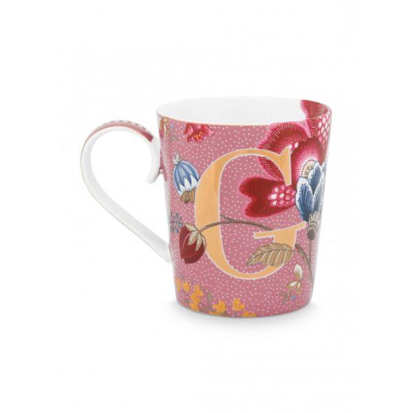 Κούπες με γράμματα -G- Floral Fantasy Ροζ 350ml
