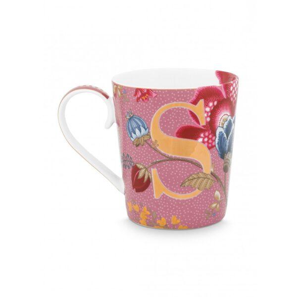 Κούπες με γράμματα -S- Floral Fantasy Ροζ 350ml