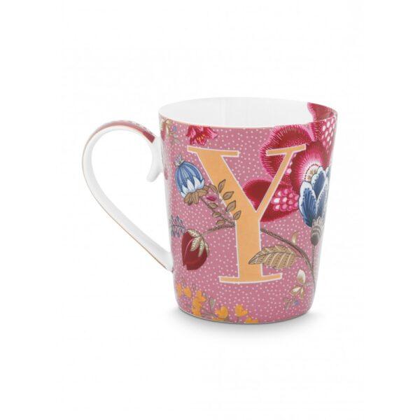 Κούπες με γράμματα -Y- Floral Fantasy Ροζ 350ml