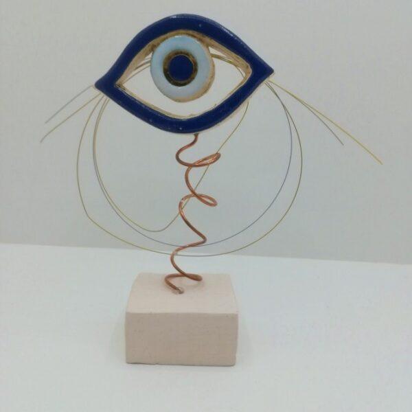 Μάτι χειροποίητο κεραμικό επιτραπέζιο διακοσμητικό